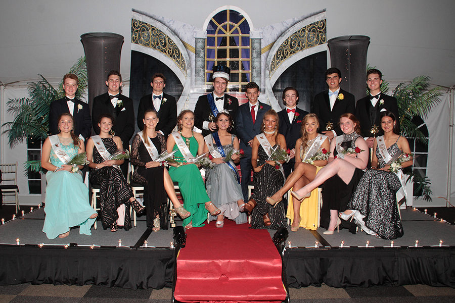 Last year's Prom court pose for a picture after the King and Queen were named.
