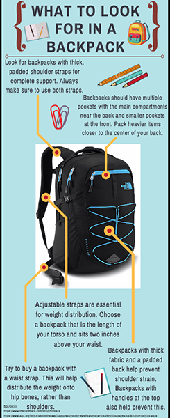 Infographic on what qualities to look for in a backpack that will work best for your back.