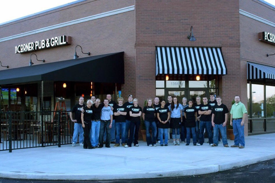 Brant Baldanza and his staff in front of The Corner Pub opening day on Oct. 20, 2007.