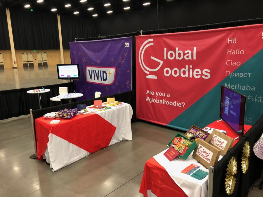 Virtual Enterprise students set up booths to showcase their businesses at the  Southern regional conference and exhibition.