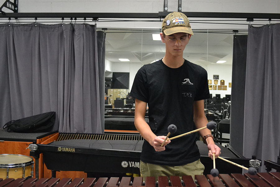 Junior Justin Cupps plays marimba in preparation for the audition. The auditions for All-Suburban concert band were held at Parkway North on Monday, Nov 6. Cupps was one of four students from Parkway West that made it into the band.