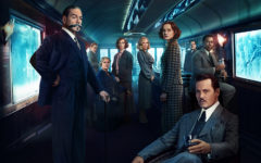 Detective Hercule Poirot, alongside other passengers on the Orient Express, poses in the dining car for a promotional image.