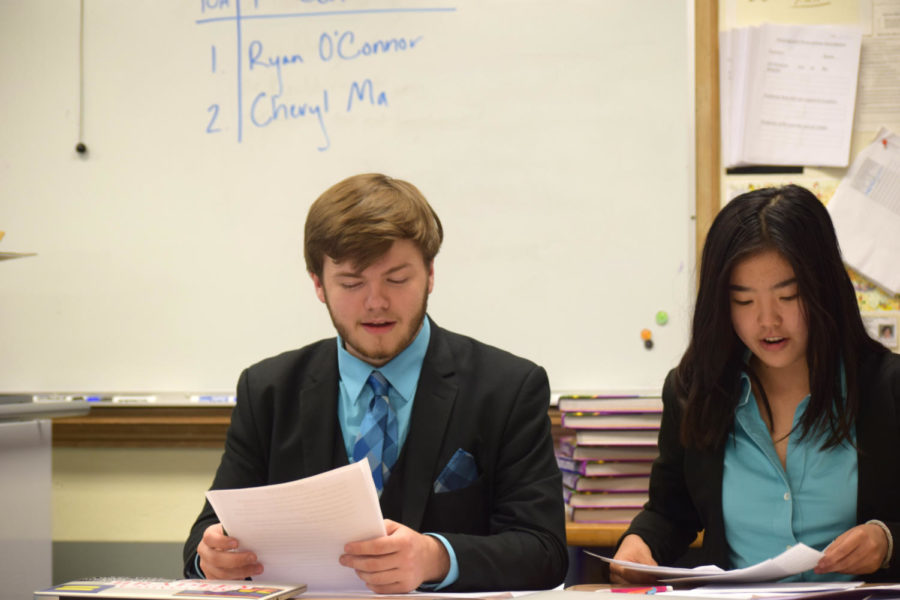 "Preparing for a round with his debate partner Cheryl Ma, senior Ryan O'Connor studies information he has researched. Being partners for only one year, they placed first in districts and went to Nationals in the 2016-2017 school year. ""Cheryl is the love of my life. She has made it bearable. Working with her has helped me re-find my passion,"" O'Connor said."