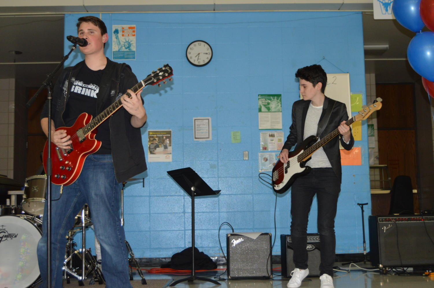 "Playing Blink-182, Green Day and The Killers covers, sophomore Ryan Egan and junior Dani Fischer play guitar and bass, respectively. Although Fischer is not part of The Brink, she filled in for the benefit concert. ""We pulled some songs that we regularly do from most of our gigs. I definitely went for songs that everyone would know, but at the same time, I wanted to choose songs that were fun to play, so we could have a good rock-out,"" Egan said."