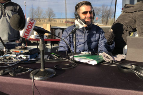 Mark Reardon participates in a live broadcast on Dec. 8 for a bike drive called Bikes for Tykes through the Toys for Tots campaign.