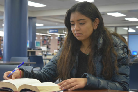 "Senior Salmoi Inje works on homework in the library. ""I'm in debate and mock trial so I'm not really a sports person. My interests are very much academic. I want to go into Pediatrics so I'll probably go through some pre-med track and then figure out my special later,"" Inje said."