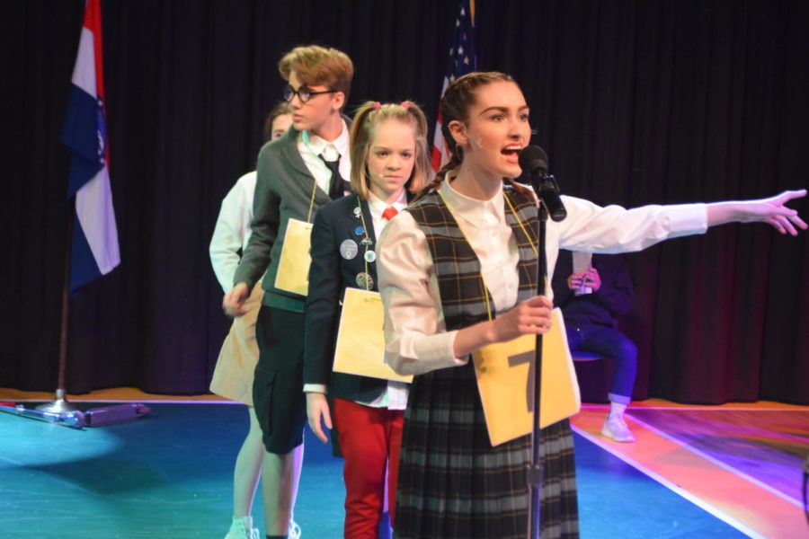 Senior+Kennedy+Brown+performs+as+a+perfectionist+in+the+West+High+Dramatics+Company%E2%80%99s+production+of+The+25th+Annual+Putnam+County+Spelling+Bee+musical.+The+musical+was+chosen+for+the+spring+show+this+year+and+was+performed+three+separate+times+on+the+weekend+of+Feb.+9-11.+%22I+feel+really+good+about+%5Bthe+performance%5D%3B+I+think+we+did+a+really+good+job%2C%22+Brown+said.+%22I+still+have+people+coming+up+to+me+and+congratulating+me+which+is+a+cool+feeling.%22
