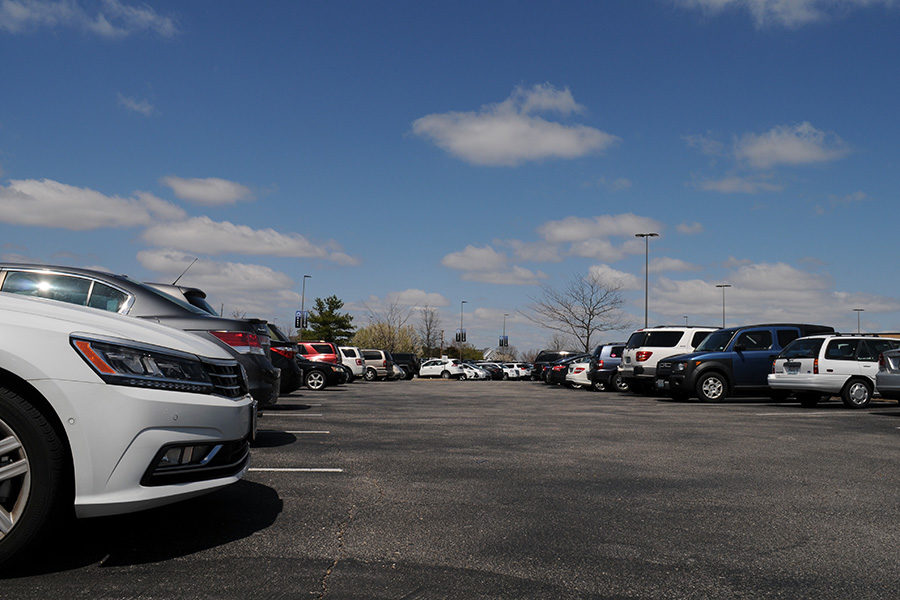 The senior lot sits packed with cars.