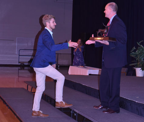 "Accepting the 2018 Founder's Award from Principal Jeremy Mitchell, senior Daniel Loaney reflects on his experiences at West. The Founder's Award is given to the student who best exemplifies what West students stand for: good character, academics, school spirit and is the highest school honor. ""I was overwhelmed, it was a surreal moment to look out and see four years of my life had gone by. I've loved this place, and being here,"