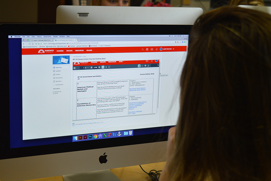 A student uses Schoology as a supplement to study for their AP Government class.