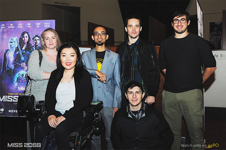 Kaitlyn Yang and her crew attend a premier party for Miss 2059, a show that her team did visual effects for last year for Verizon go90.