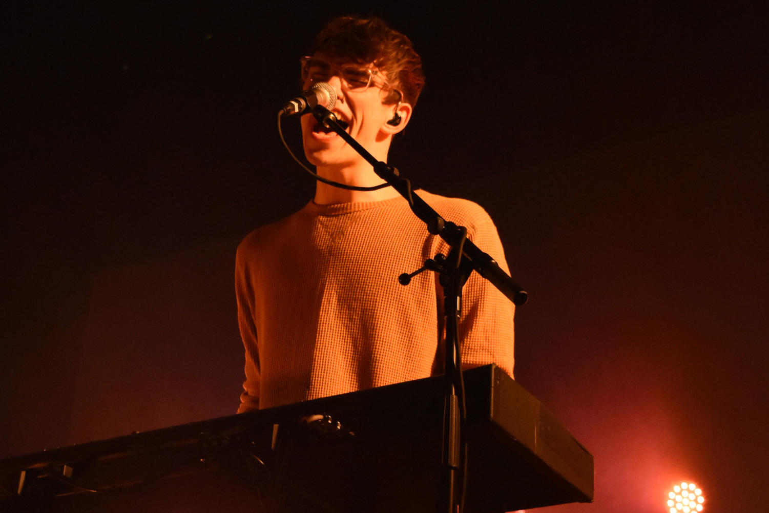 "Performing Tues. Oct. 9 at the Pageant, Hippo Campus bassist and keyboardist Zach Sutton provides backup vocals for songs off the band's latest album ""Bambi."""