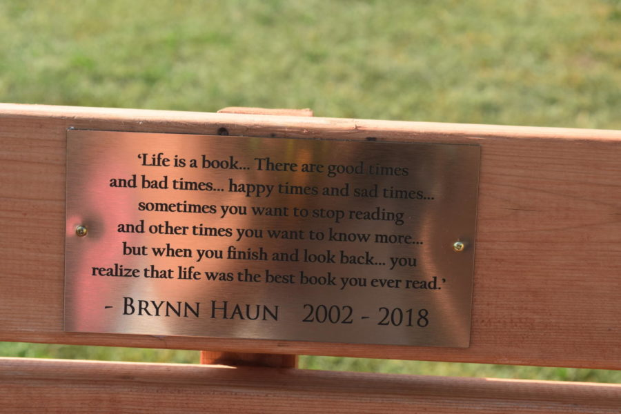 A quote attributed to Brynn Haun is etched into the bench designed by junior Matthew Hopper.