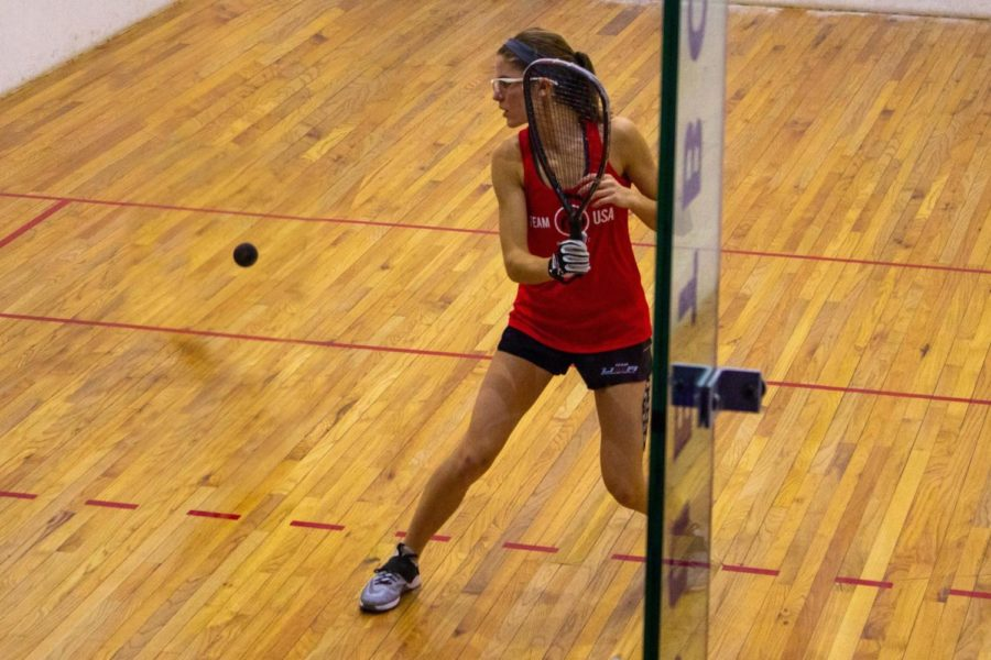 Preparing+to+slam+a+racquetball+into+the+wall%2C+junior+Erin+Slutzky+stands+alert+for+the+next+move.+Slutzky+competed+for+Team+USA+at+the+IRF+Junior+World+Racquetball+Championships+from+Nov.+1-11.+%E2%80%9CBecause+racquetball+is+more+of+an+individual+sport%2C+if+you+lose+you+pretty+much+have+no+one+else+to+blame+besides+yourself.+You+can+practice+whenever+and+whatever+you+need+to+work+on+to+go+out+next+time+and+win%2C%E2%80%9D+Slutzky+said.