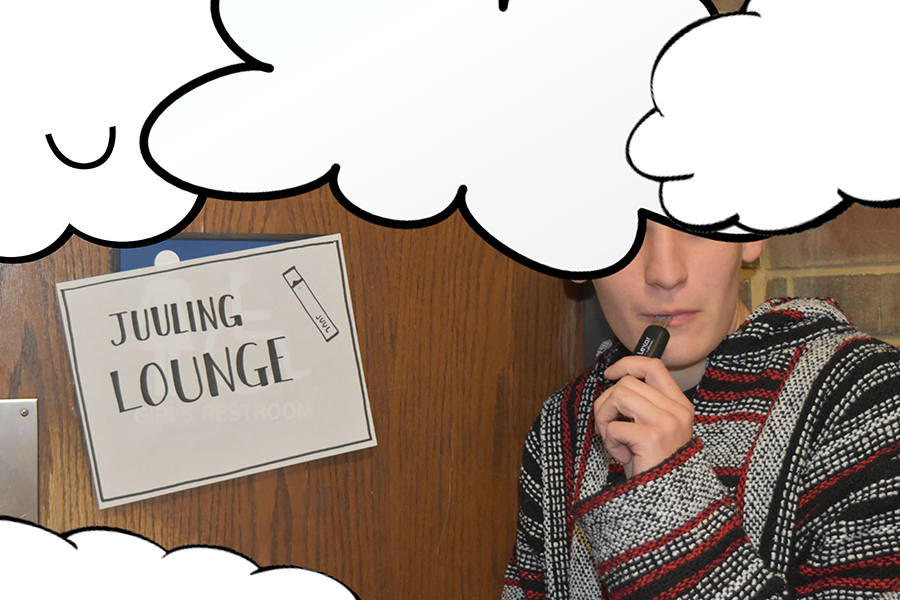 "A student mimics using a juul outside the Juuling Lounge, where a temporary sign has been hung up. ""I think that even this flash drive looks cool, you know? I can almost feel the nicotine buzz,"" the unnamed student said."
