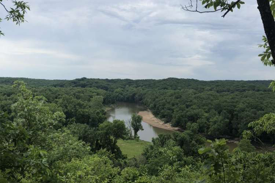 Hikers enjoy multiple lookout points throughout the trails in Castlewood State Park. Castlewood is one of over 30 parks in the St. Louis County parks system.