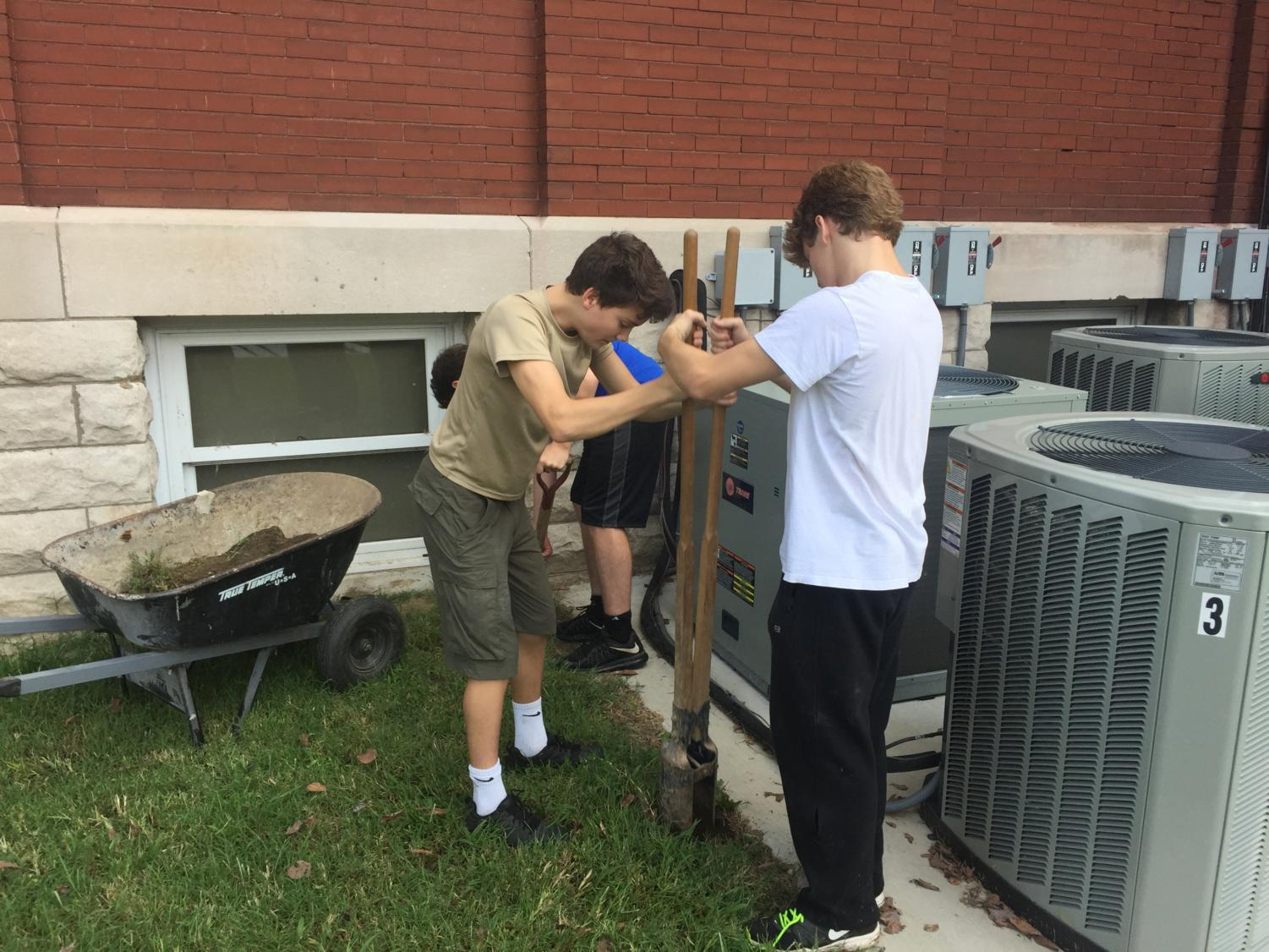 """Junior Brendan Gordon completes his Eagle Scout project at the Civil War Museum in Jefferson Barracks. Gordon also participates in other extracurricular activities such as volunteering at a retirement home and at the Manchester Church Choir. """"I think it's a good foundation they have going on there and I really like to give back to the community as best as I can,"""