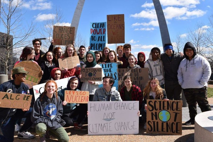 26 of the 30 West students who attended the Youth Climate Strike US in St. Louis pose for a picture under the arch. The national walkout was for young people to voice their discontent with inaction in the government regarding climate change.