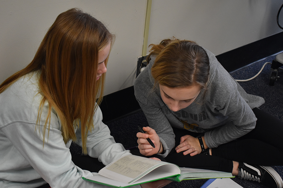 """Translating a story from their textbook, freshmen and Latin II students Mary Hardy and Claire Folkins work together. The practice translations in the textbooks follow a story of the same characters throughout the four books. """"I chose latin because both of my sisters took it and they both really enjoyed it. Also because they both said Herpel was the best teacher,"""" freshman and Latin I student Claire Folkins said. """"Our class is really close and we all get along really well. We can joke around with each other but also get work done when it needs to get done."""""""
