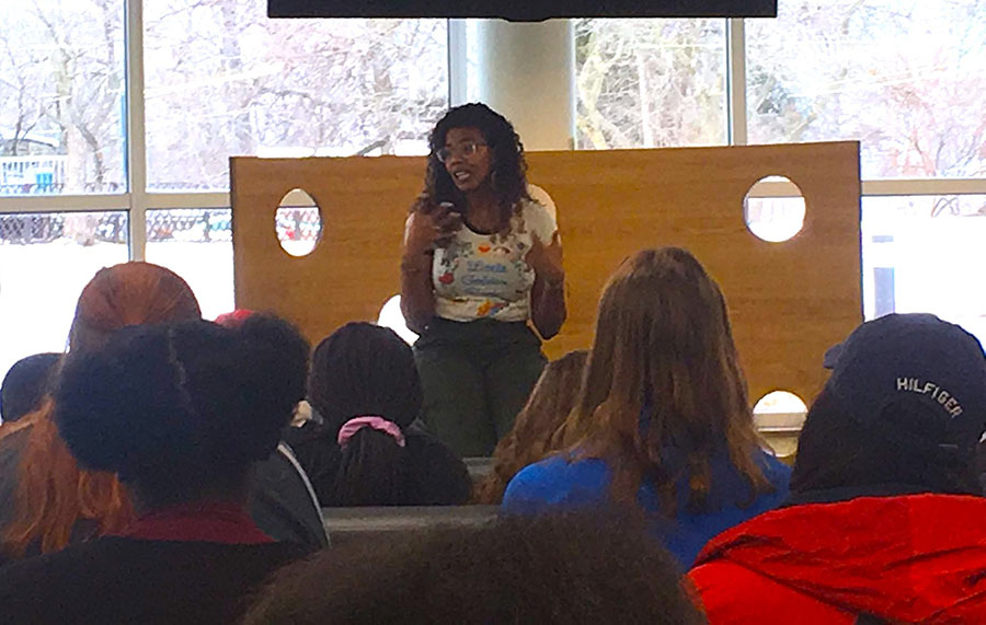 "Best- selling author Nic Stone discusses the focus and messages of her novel ""Dear Martin"" with the members of SSJLAC.  Her book was published Oct. 17, 2017. ""I was actually studying Psychology and planning to go into neuropsych, but I'd started a novel the year before and managed to finish it and secure an agent before graduation. That novel didn't go anywhere, but the switchover changed the trajectory of my entire life,"" Stone said."