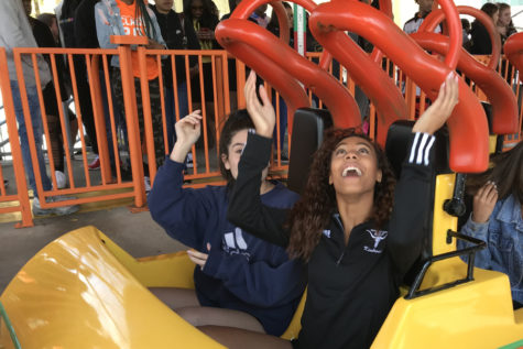 "Pulling down her safety restraints, senior Madison Terry prepares to ride the Boomerang roller coaster at Six Flags St. Louis, April 2. Each year, the senior class takes a field trip to Six Flags while the underclassmen take the ACT exam. ""I'm done with the ACT and almost in college now, so it was really fun to be with everyone one last time,"" Terry said."