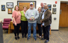 Mail Driver Mike Keehnast receives the Light of Parkway Award for his work
