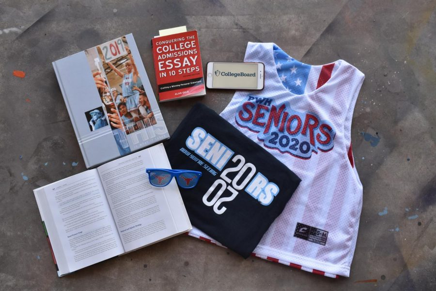 The above photo shows various items that represent some of the costs of senior year.