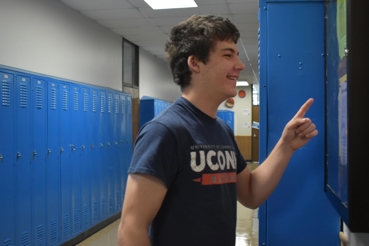 Sophomore Martin Franscius checks a schedule to see what he is doing in class that day.
