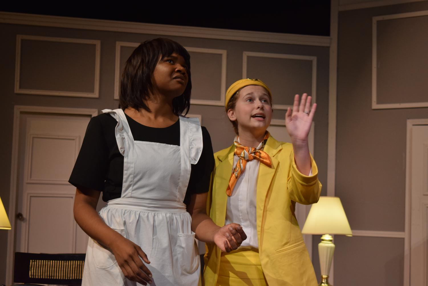 "Seniors Aaliyah Weston and Katie Solodar portray Bertha and Gretchen, respectively, in a scene from ""Boeing Boeing."""
