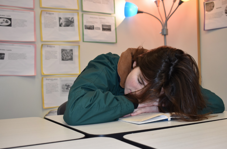 """A student accidentally falls asleep on her book in class. She got two hours of sleep the previous night. """"I always fall asleep in my classes and miss out on information, so then I have to stay up the next night trying to figure out how to do the homework,"""" she said. """"This cycle makes everything so hard, but I refuse to sleep at night because hashtag sleep is for the weak."""""""