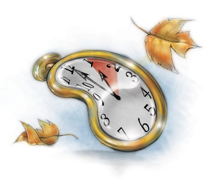 Fred Matamoros illustration of Dali-esque melting clock with fall leaves; can be used with stories about setting clocks back in the fall. (The Orange County Register/MCT)
