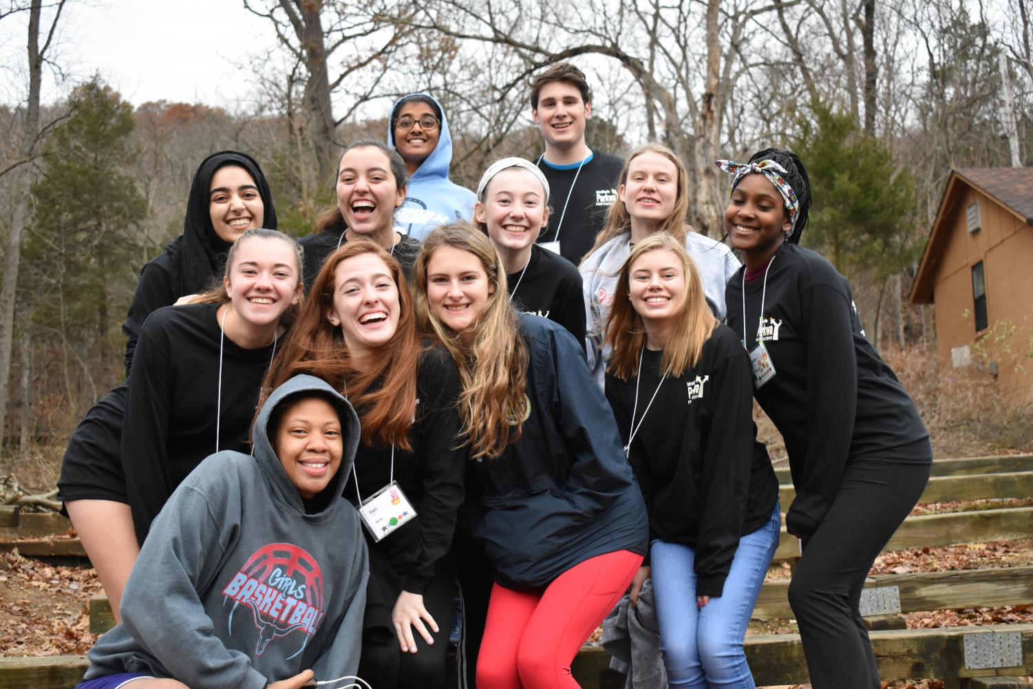 """Peer Teachers pose for a group photo at the Camp Wyman. Juniors and seniors participated in interactive group activities to strengthen knowledge of maintaining a drug-free life. """"The retreat changed my perspective on life a lot. I understand that I play an important role in making the world a better place, as everyone should,"""" senior Ryan Egan said."""