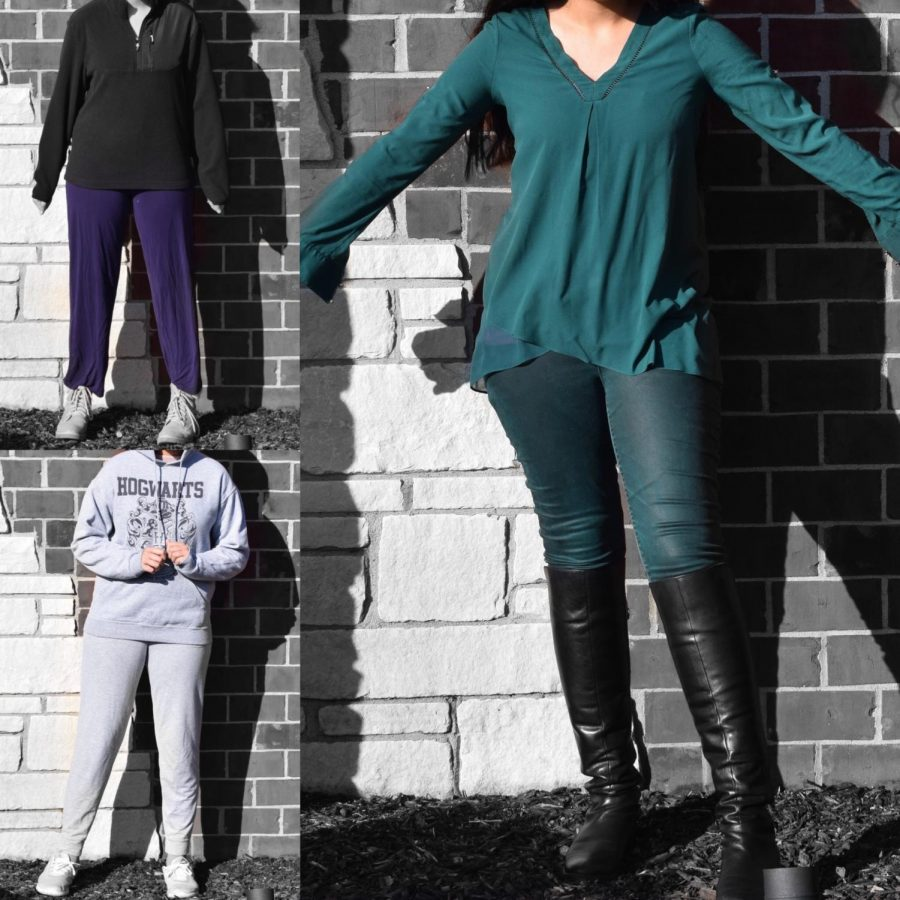 A student models purple pants, a groutfit and dressing like an evergreen tree.