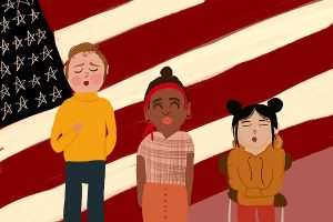 Students weigh reasons to stand or sit for the Pledge of Allegiance