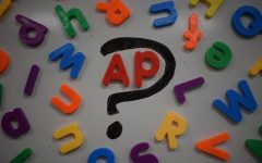 A photo illustration of letters scattered around an 'A' and 'P.'