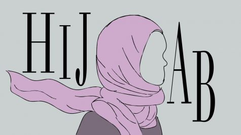 Photo illustration of a female donning the hijab, a head covering worn by many Muslim females in public.