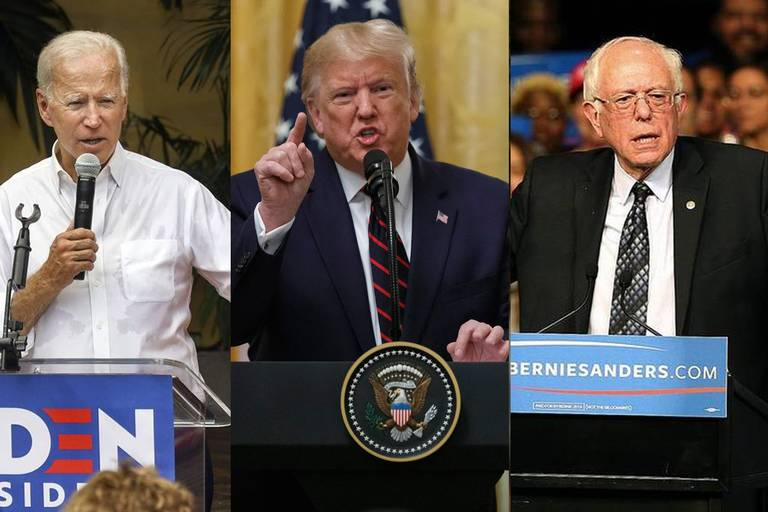 The+presidential+candidates%2C+former+vice+president+Joe+Biden+%28D%29%2C+President+Donald+Trump+%28R%29+and+Senator+Bernie+Sanders+%28D%29%2C+give+speeches+in+hopes+of+benefitting+their+campaign+bid+for+president.