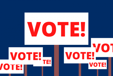 "Signs proclaiming ""VOTE!"" are illustrated against a blue background, a call to action heading towards the Missouri primary election Tuesday, March 10."