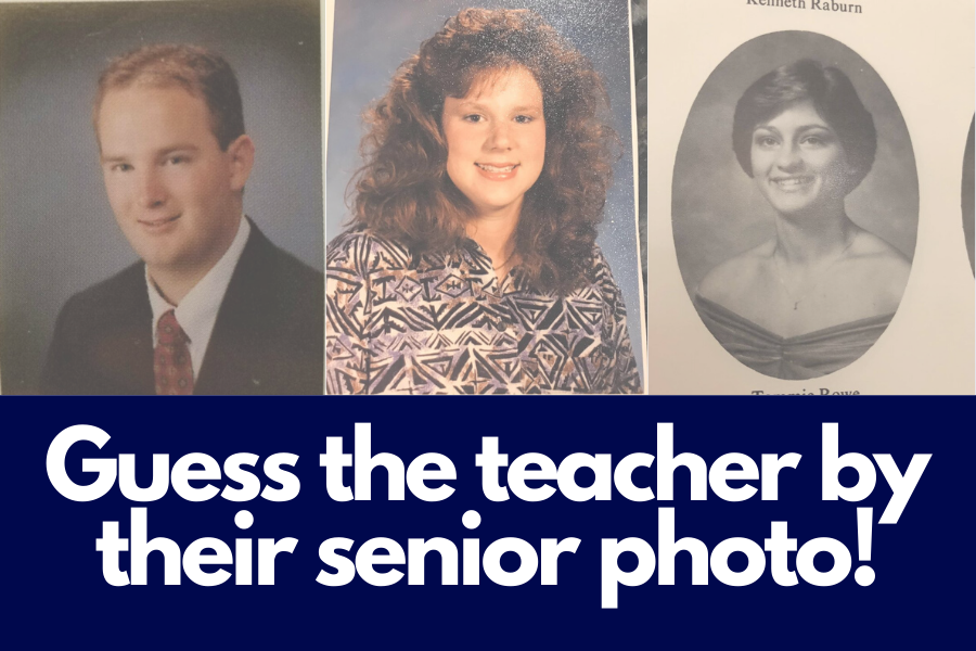 Teachers Chris Johnson, Kim Hanan-West and Tommie Rowe share their senior photos with other faculty members.
