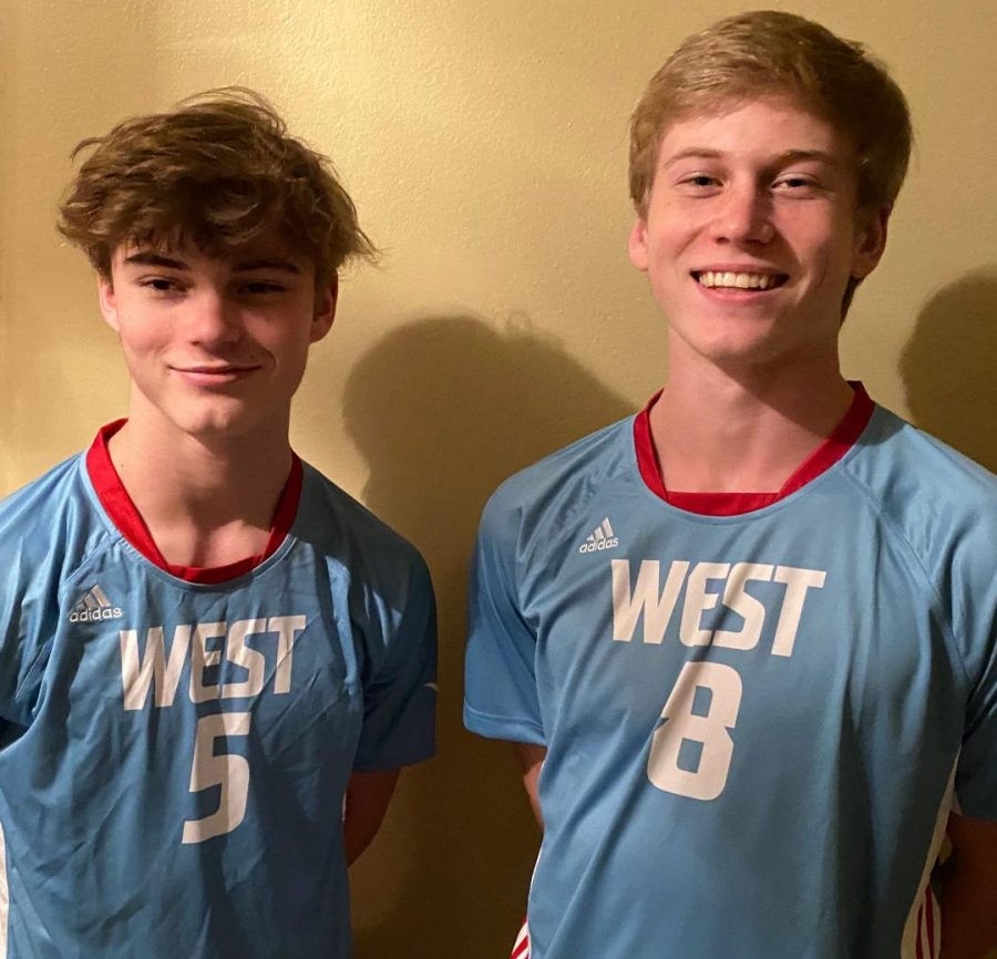 "Wearing their varsity jerseys, brothers Jack and Sam Goedde smile for a photo. This year, the brothers had the opportunity to play on the same volleyball team, but their season was cut to only two weeks due to the outbreak of COVID-19. ""I know that Jack worked extremely hard to prepare for this season so that he would have a chance to make varsity and play with Sam,"" boys varsity volleyball coach Susan Anderson said. ""Had [they] been able to play, I know they would have pushed each other on the court and really bonded."""