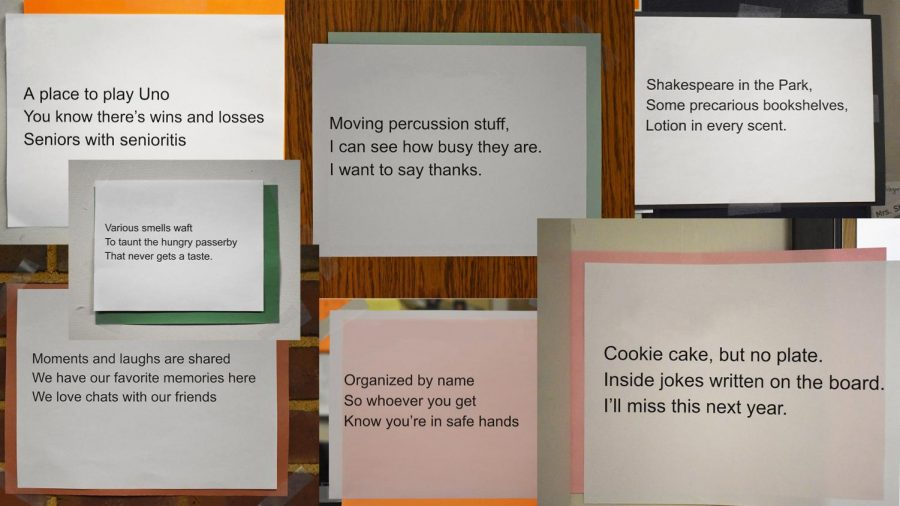 A collage of various haikus written by Creative Writing 2 students.