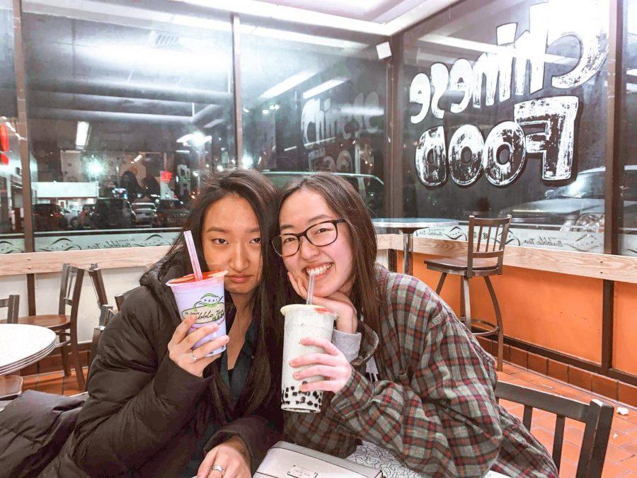 After a basketball game, seniors Ashley Chai and Nayeon Ryu enjoy St. Louis Bubble Tea.