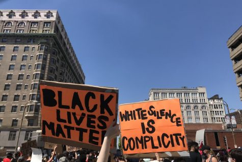 Protesters gather for a march in downtown St. Louis in support of the Black Lives Matter movement.