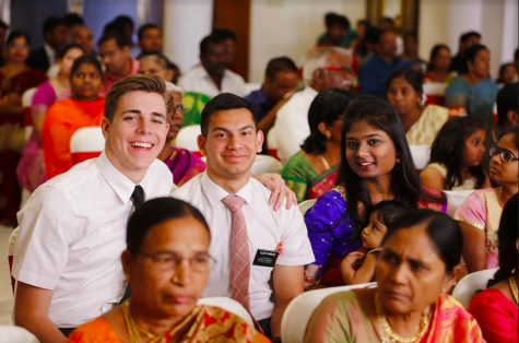 Bonnet smiles with his companion while attending a wedding in India, where he served his mission.