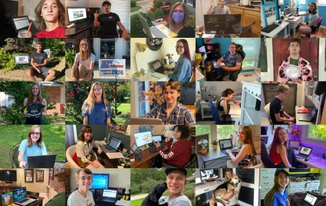 """A collage displays students preparing for the first day of school. Parkway began the school year with districtwide virtual instruction upon implementing its 'Plan C' for reopening. """"I felt slightly nervous before the day started because I didn't know how well our internet would hold up. The thing that scares me the most is that I will never know if the internet will stay up the whole day or if it will go down,"""" junior Aliana Sawall said. """"This experience overall has taught me that I will have to have more patience than usual because this is new to everyone, including teachers."""""""