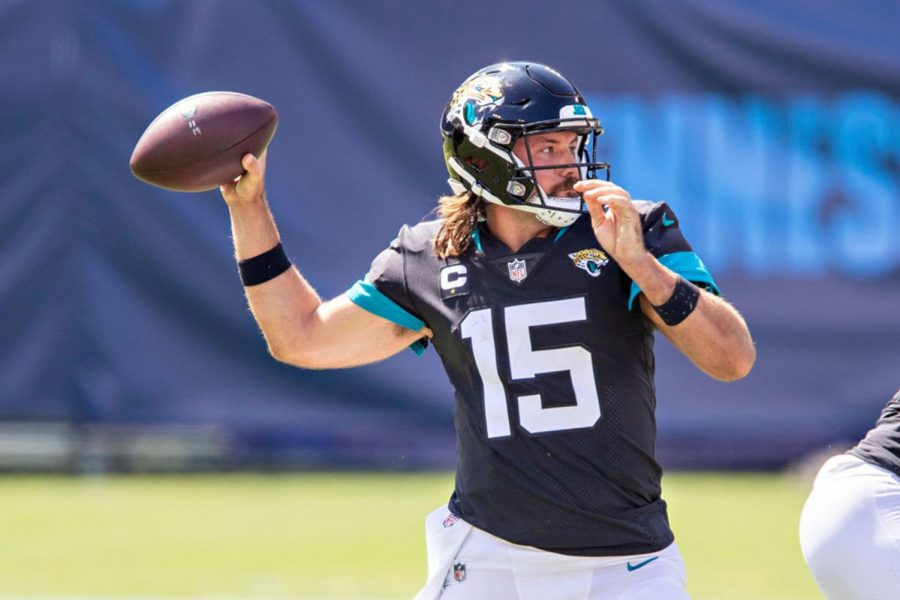 Gardner Minshew II (15) of the Jacksonville Jaguars throws a pass in the first half of a game against the Tennessee Titans on Sunday, Sept. 20 at Nissan Stadium in Nashville, Tenn.