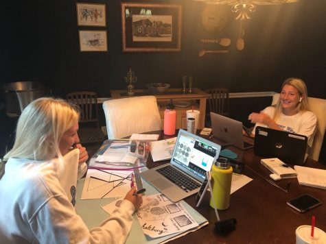"""While completing online schoolwork, seniors Irene Yannakakis and Anna Pavilsin share a laugh. Yannakakis has been seeking hangouts as a way to connect with her friends during virtual learning. """"I have done online school with my friends a couple times, but it"""
