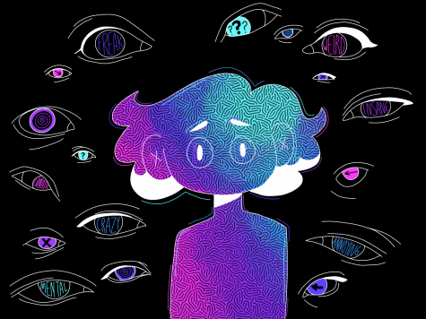 "Using Procreate 5X, senior Rebecca Vierck demonstrates how attention deficit hyperactivity disorder (ADHD) and social anxiety can make someone feel like being watched. Vierck's piece conveyed the alienation felt from their peers. ""A lot of media representation about ADHD is built upon stereotypes. Because of the comorbidity of my ADHD and social anxiety, I tend to feel anxious to stim in front of people in fears of seeming weird,"" Vierck said. ""I"