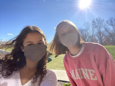 Freshmen Katie Wallace and Cora Tiemeier spend a windy day outside at O'Day Park in O