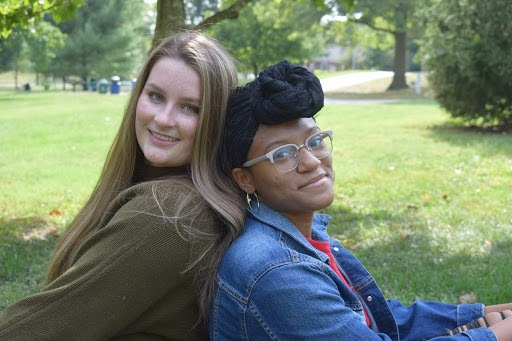 The hosts of It's Not Black and White, seniors Zoe DeYoung and Bri Davis.